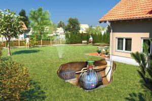 Wer einen größeren Bio-Garten natürlich bewässern möchte, kann mit einem Erdtank einen großen Regenwasservorrat anlegen. Foto: djd/Otto Graf